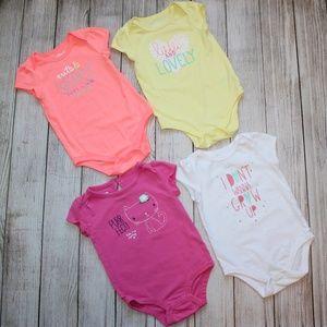 CIRCO (4) Girls 12 Month Onesies Pink White Yellow